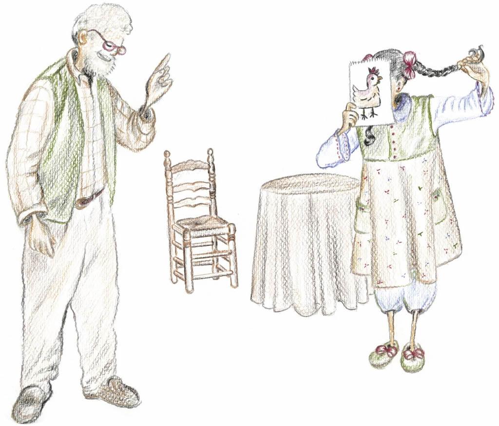 Debuxo de Rosiña e o avó no libro Un ave especial