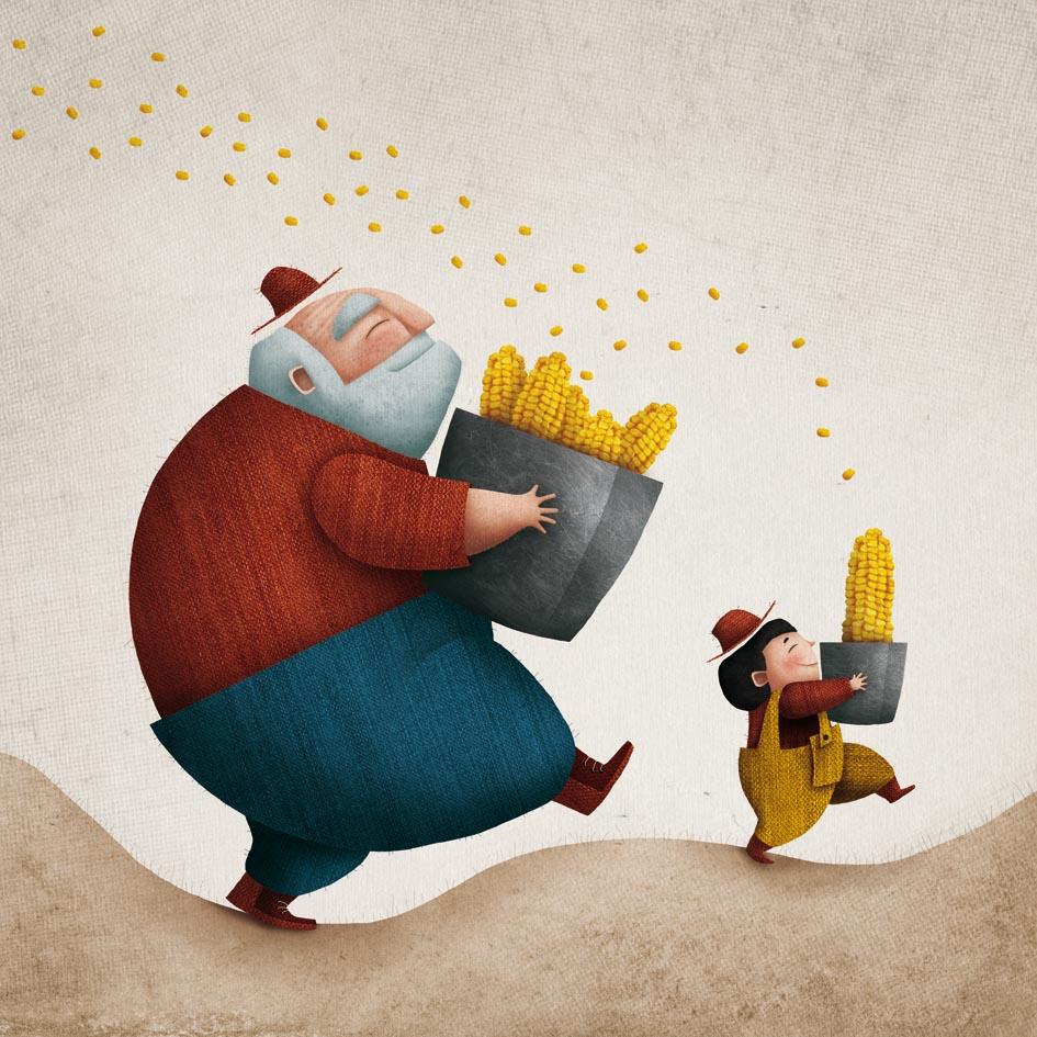 Ilustración da canción pan de millo